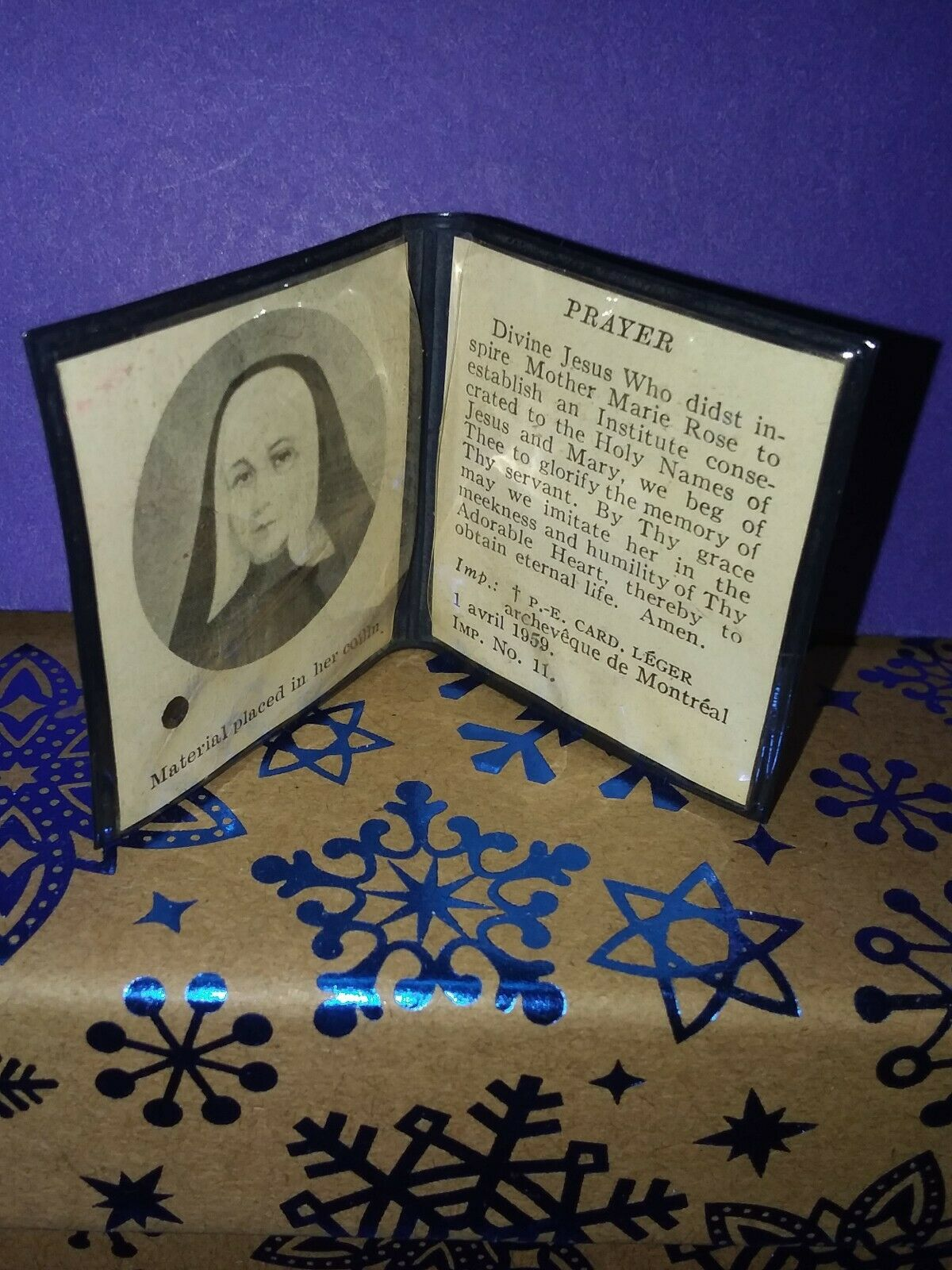 VINTAGE MOTHER MARIE ROSE DUROCHER RELIC & PRAYER FOUNDED SISTERS OF HOLY NAMES