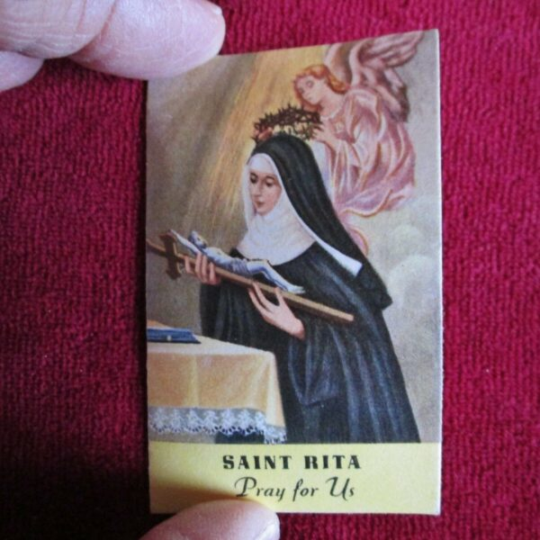 """St.Rita RELIC Card 3rd Class Touched To Her Relics 3"""" x 1 3/4"""" Free Shipping!"""