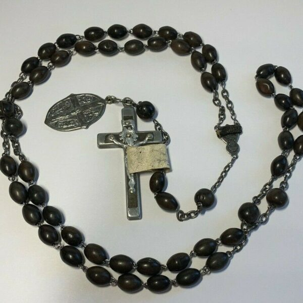 "† ANTIQUE ""MOURNING DIE A GOOD DEATH"" BAND ON UPSIDE DOWN CENTER ROSARY 37"" †"