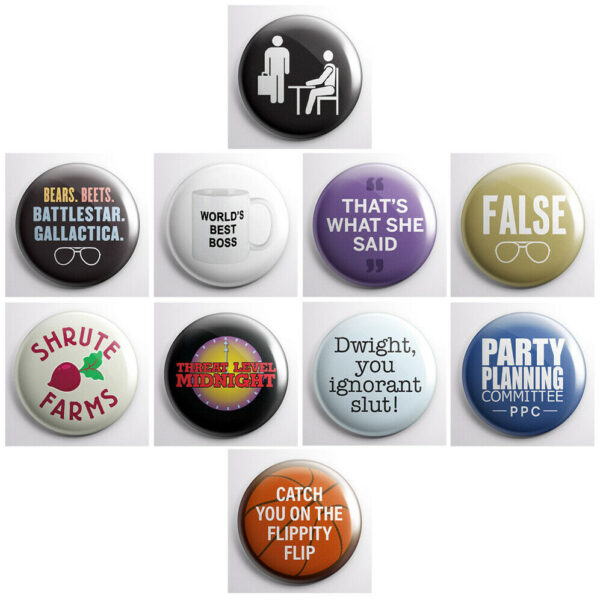 """THE OFFICE - TV show pinback buttons - 10 total 1"""" pins badge"""