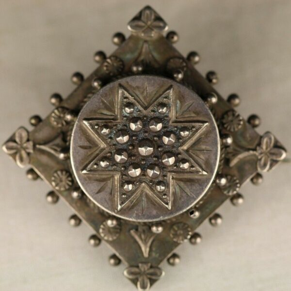 Sterling Silver Reliquary Brooch Pin With Dark Cloth Within, It Is Marked A