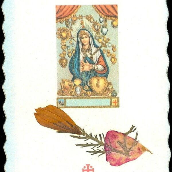 "RELIC card with flowers of Holy Land With Our Blessed Virgin Mother 3 1/2"" x 2"""