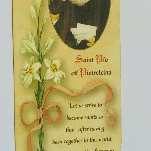 Padre Pio Prayer Card to Obtain Graces + 3rd Class Relic, Bookmark Size, New