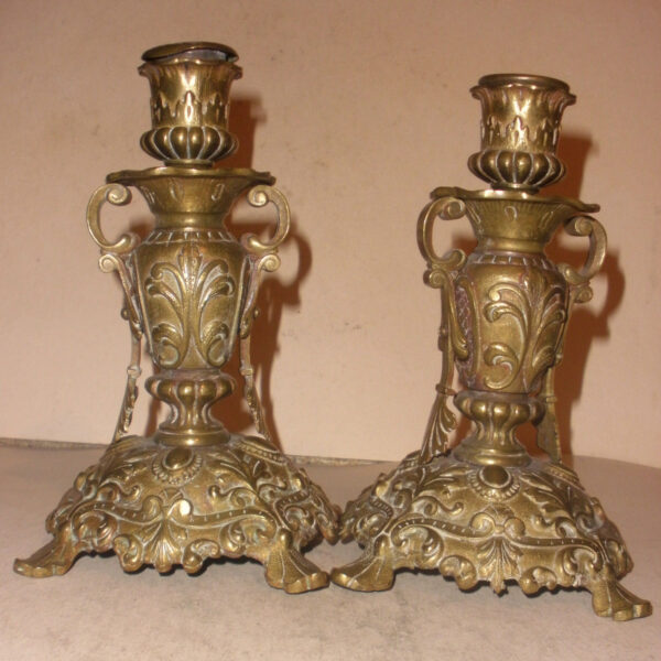 Pair of nice Antique 18/ 19thc brass decorated candlesticks