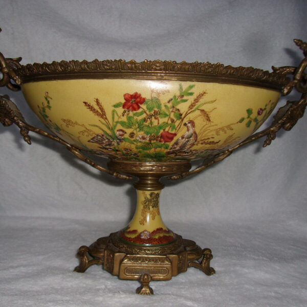 """ANTIQUE BRONZE ENAMELED, FOOTED, HANDLED, URN QUAIL RAMS HEAD 19TH CENTURY 15""""L"""