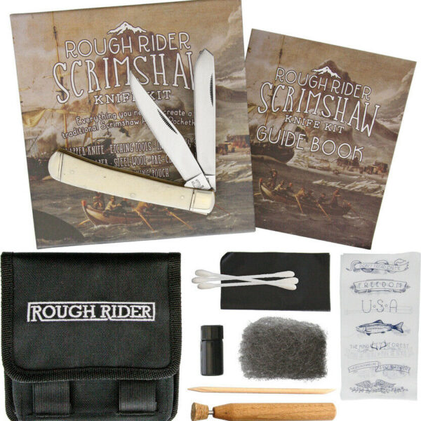 Rough Rider Scrimshaw White Bone Folding Pocket Knife Design Tools Kit Set 1579