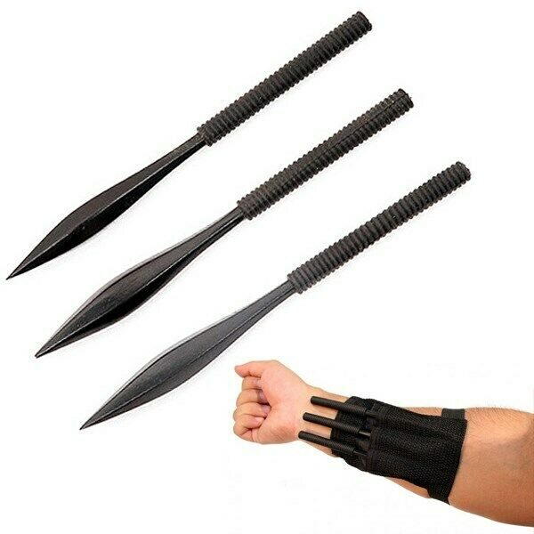 "3 PIECE 6"" NINJA KUNAI SPIKES THROWING KNIVES SET w/ SHEATH Quills Darts Naruto"