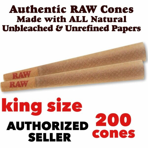Raw Classic King Size  pre rolled cone With Filter  (200 Packs) 100%AUTHENTIC